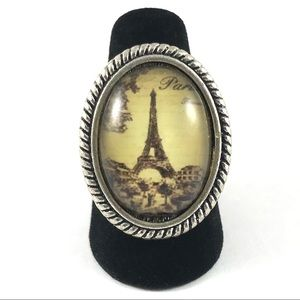 Gorgeous Silver Eiffel Tower French Ring Size 6.25